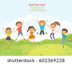 happy jumping children in the... | Shutterstock .eps vector #602369228
