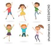 group of children jumping.... | Shutterstock .eps vector #602369240