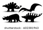 set of silhouettes of dinosaurs ... | Shutterstock .eps vector #602381963