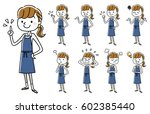 woman in apron figure  set ... | Shutterstock .eps vector #602385440