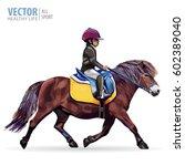 boy riding a pony. horse.... | Shutterstock .eps vector #602389040