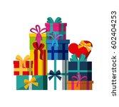 gift boxes over white... | Shutterstock .eps vector #602404253