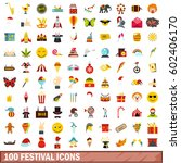100 carnival icons set in flat... | Shutterstock .eps vector #602406170