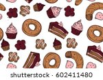 hand drawn donut  bagel ... | Shutterstock .eps vector #602411480