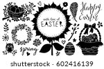 Stock vector easter holiday hand drawn design elements set isolated on white background hand written text 602416139