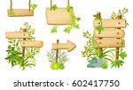 wooden signboards and green... | Shutterstock .eps vector #602417750