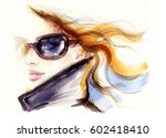 woman in sunglasses. fashion... | Shutterstock . vector #602418410