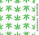 seamless pattern with cannabis... | Shutterstock .eps vector #602419028