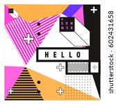 trendy vector summer cards... | Shutterstock .eps vector #602431658
