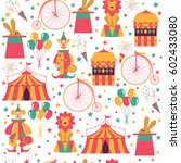 seamless circus pattern with... | Shutterstock .eps vector #602433080