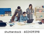 group of university students... | Shutterstock . vector #602439398