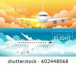 passenger airplane at sunset...   Shutterstock .eps vector #602448068