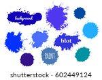 blue paint splash. vector set... | Shutterstock .eps vector #602449124