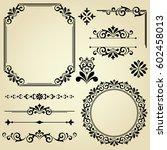 vintage  set. floral elements... | Shutterstock . vector #602458013