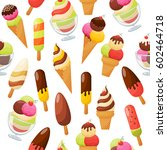 sweet ice cream seamless... | Shutterstock .eps vector #602464718