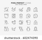 set of cleaning thin line icons.... | Shutterstock .eps vector #602474390