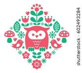 scandinavian pattern  nordic... | Shutterstock .eps vector #602493284