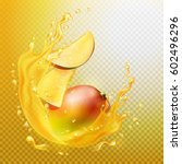 a splash of juice with mango... | Shutterstock .eps vector #602496296