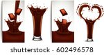 chocolate flow and slash... | Shutterstock .eps vector #602496578