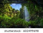 footbridge and crystal falls... | Shutterstock . vector #602499698