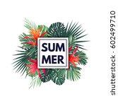 green botanical summer tropical ... | Shutterstock .eps vector #602499710