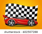 red car and checkered flag. | Shutterstock .eps vector #602507288