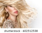 beautiful sexy blonde female... | Shutterstock . vector #602512538