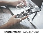 man using mobile payments...   Shutterstock . vector #602514950