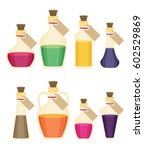 set of cartoon bottles and... | Shutterstock .eps vector #602529869