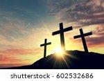 religious cross silhouette... | Shutterstock . vector #602532686