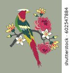 bird and flower embroidery... | Shutterstock .eps vector #602547884