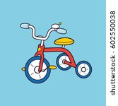 Red Kids Tricycle Vector.