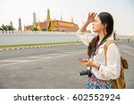 woman tourist on grand palace... | Shutterstock . vector #602552924