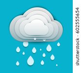 paper art cartoon rain clouds... | Shutterstock .eps vector #602555654