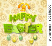 happy easter greeting... | Shutterstock .eps vector #602558000