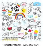 Set Of Colorful Doodle On Pape...