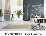 spacious travel themed bedroom... | Shutterstock . vector #602561840