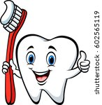 cartoon tooth holding tooth... | Shutterstock .eps vector #602565119