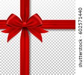 red gift ribbon and bow. | Shutterstock .eps vector #602571440