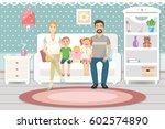 happy family with children... | Shutterstock .eps vector #602574890
