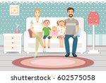 happy family with children... | Shutterstock .eps vector #602575058