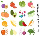 set of fresh healthy vegetables ...   Shutterstock .eps vector #602575070