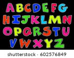 neon style alphabets for kids | Shutterstock .eps vector #602576849