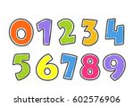 kids colorful alphabet numbers | Shutterstock .eps vector #602576906