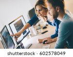 programmer working in a... | Shutterstock . vector #602578049