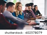business colleagues at... | Shutterstock . vector #602578079