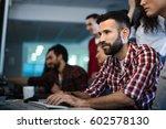 programmer working in a... | Shutterstock . vector #602578130