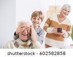 boy playing with grandfather ...   Shutterstock . vector #602582858