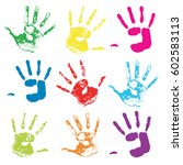 vector colorful hand prints....   Shutterstock .eps vector #602583113