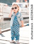 stylish baby girl 2 3 year old... | Shutterstock . vector #602584268